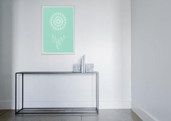 Łapacz snów plakat w kolorze miętowym - 9098