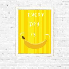 Bananowy plakat z uśmiechem do domu
