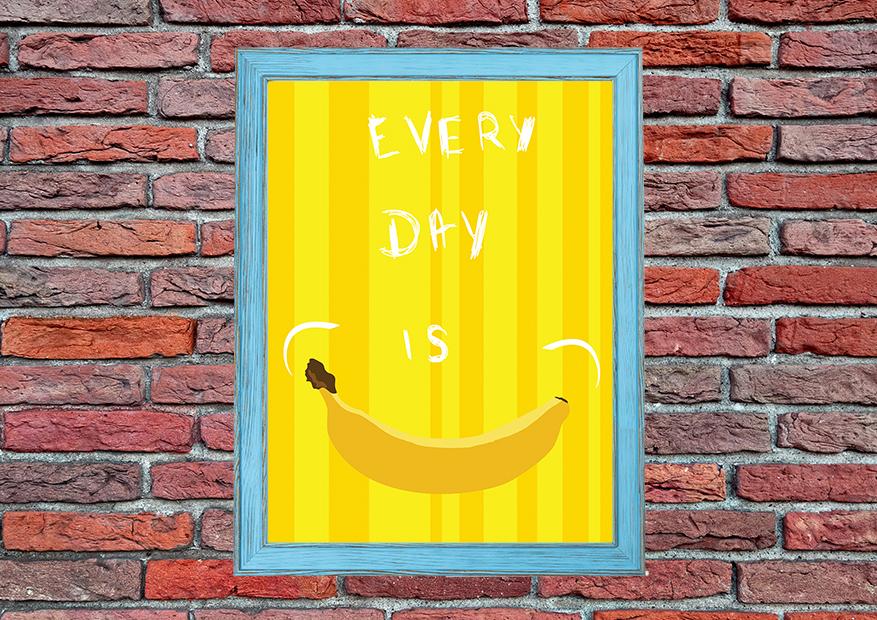 Bananowy plakat z uśmiechem do domu - 6689 - Buy Design
