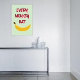 Wesoły plakat do wnętrza z bananem - 4433