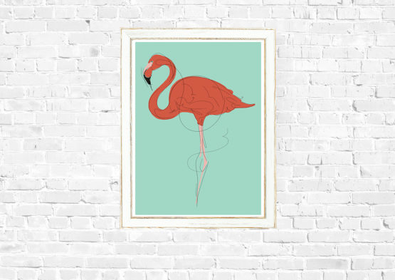 Piękny plakat flaming do domu - 9765