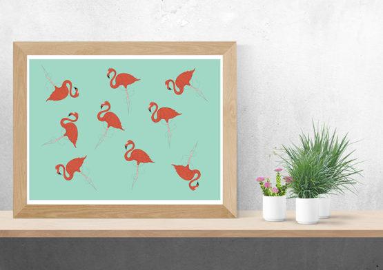 Plakat flamingi design do mieszkania