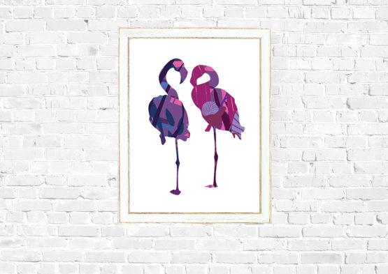 Poster home design flamingo - 7676