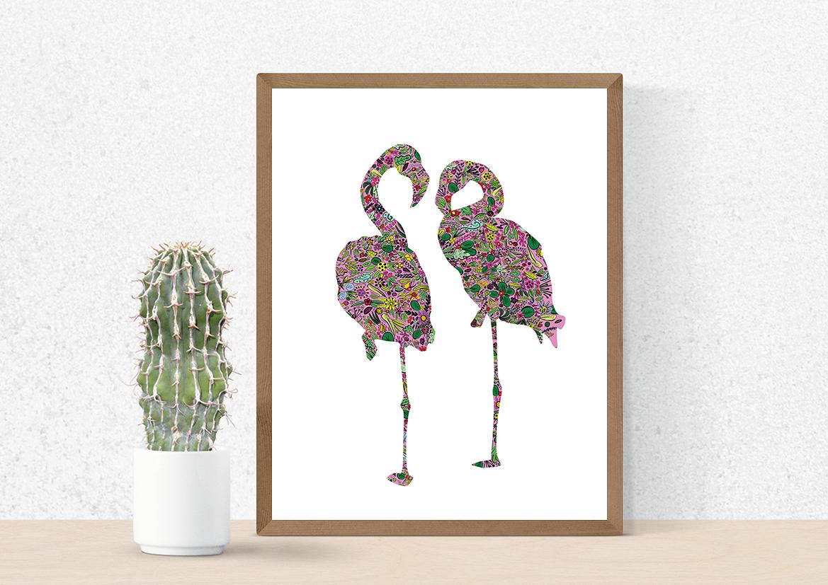 Flamingi plakat na ścianę do mieszkania - 4434 - Buy Design