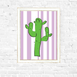 Kolorowy plakat grafika kaktus