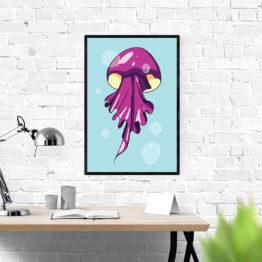 Kolorowy plakat do wnętrza meduza - 9332