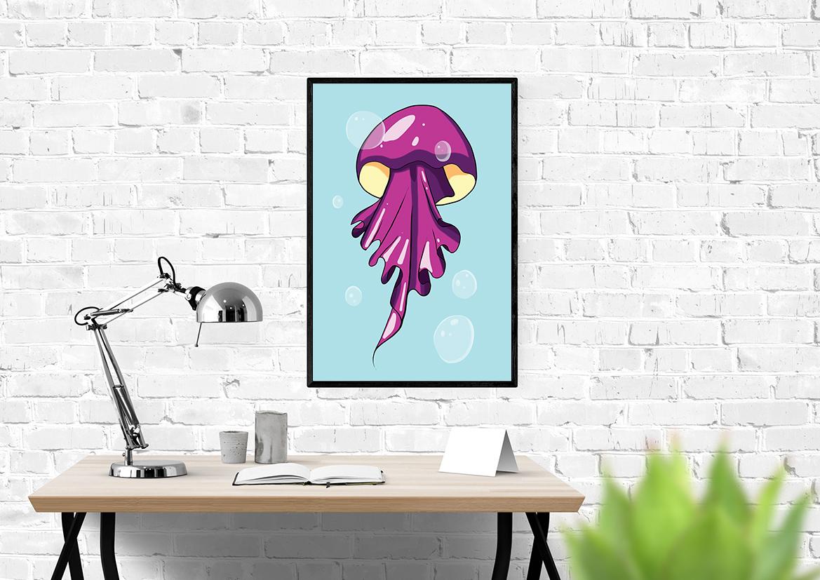 Kolorowy plakat meduza - 9332 - Buy Design