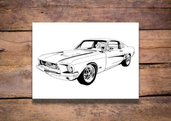 Samochód plakat Mustang GT - 8879