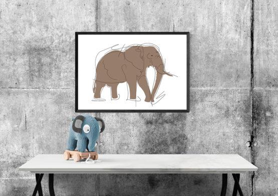 Abstrakcyjna grafika plakat brązowy słoń - 7606