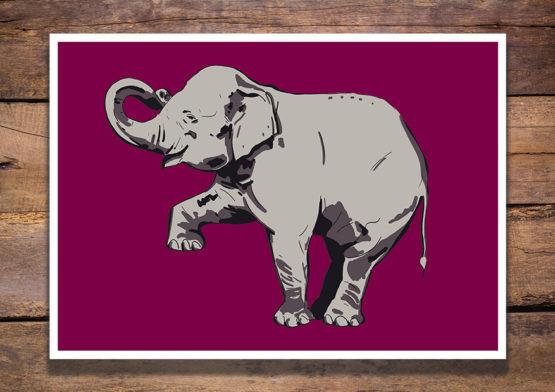 Sympatyczny uśmiechnięty słonik plakat - 0987