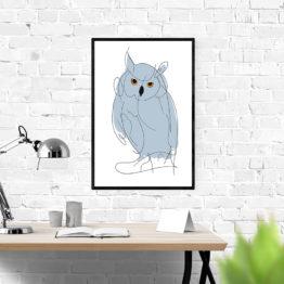 Artystyczny plakat niebieska sowa abstrakcja - 2341