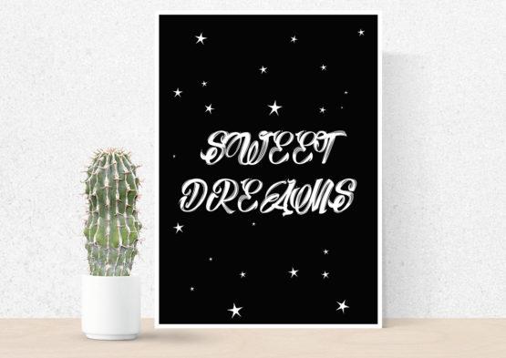 Modny plakat na ścianę sweet dreams