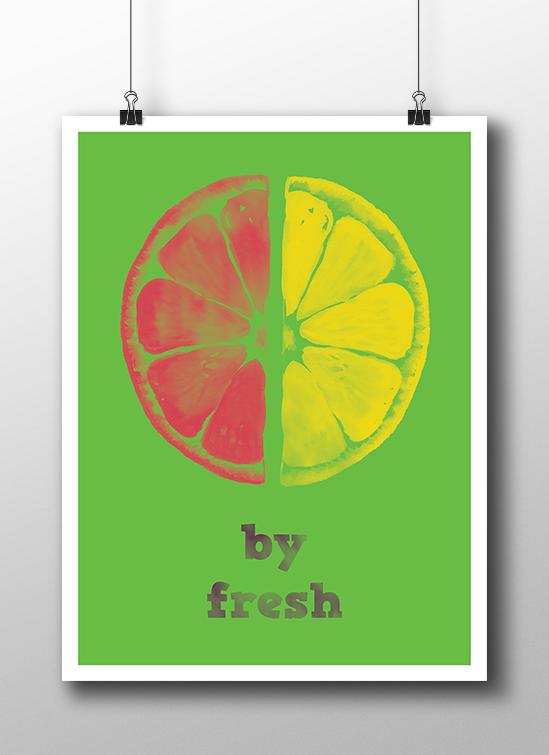 plakat z pomarańczą i grejpfrutem