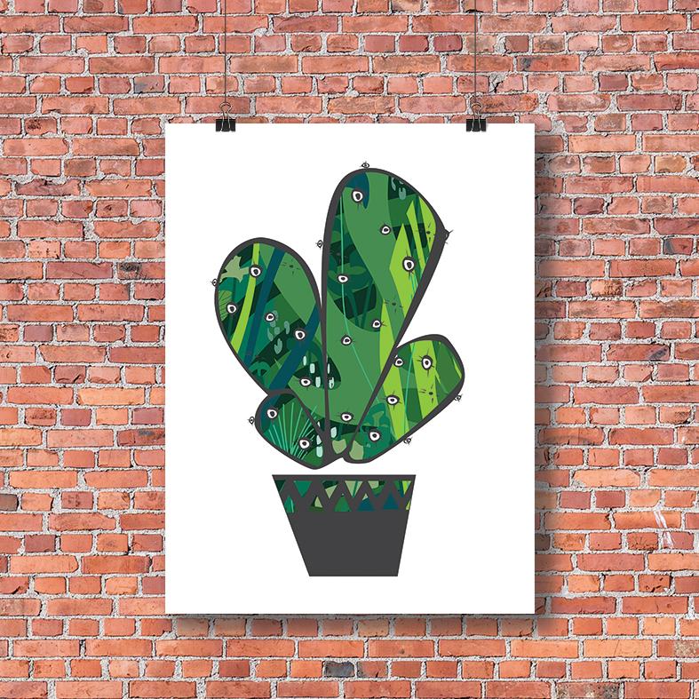 plakat kaktus na ścianę