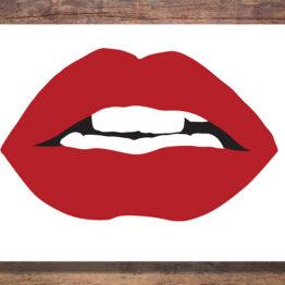 Czerwone usta plakat do wnętrza mieszkania - 0721