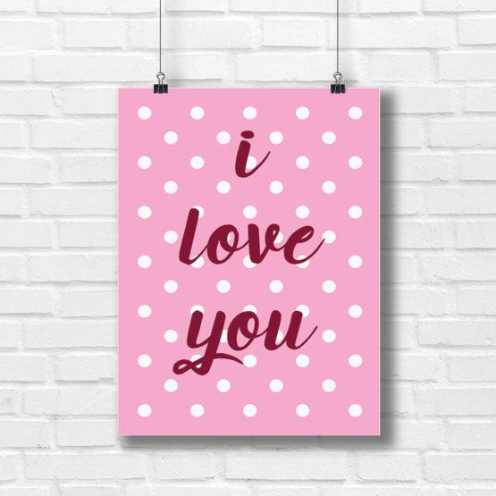 Super poster do pokoju dziecięcego i love you - 9091