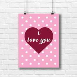 Dekoracyjny plakat i love you w sercu - 5751