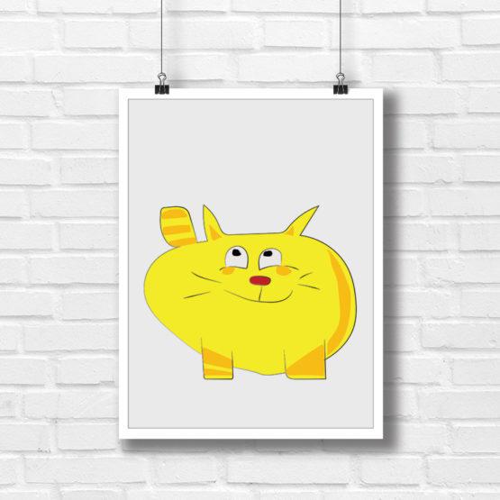 Kot PUF grafika do dziecięcego pokoju - 7737