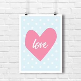 Poster z napisem love i różowe serce - 5632