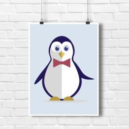 Rewelacyjny plakat do dziecięcego pokoju Pingwinek Ważniak - 7831