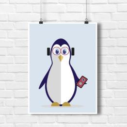 Design do dziecięcego pokoiku Pingwinek Muzyk - 9081