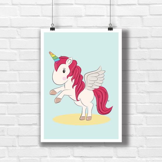 Jednorożec plakat na ścianę pokoju dziecka - 6616