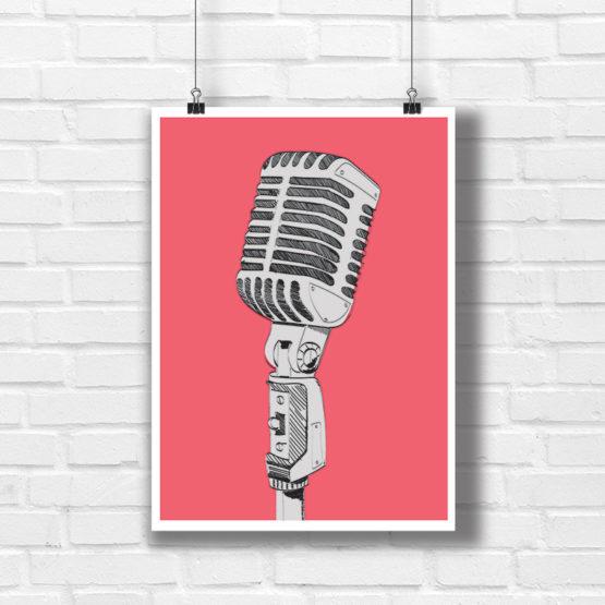 Pop art plakat mikrofon - 0927