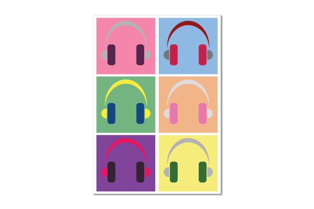 Słuchawki plakat muzyka symbol - 5464 - Plakat
