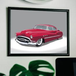Czerwony samochód plakat