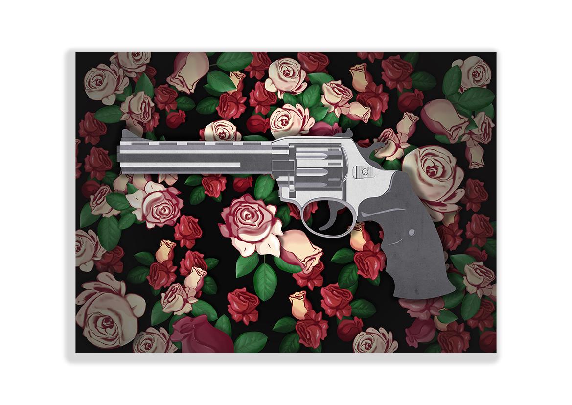 Pistolet i Róża obraz