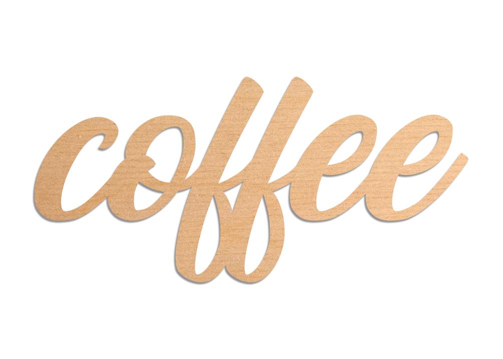 Napis z drewna coffee 3D