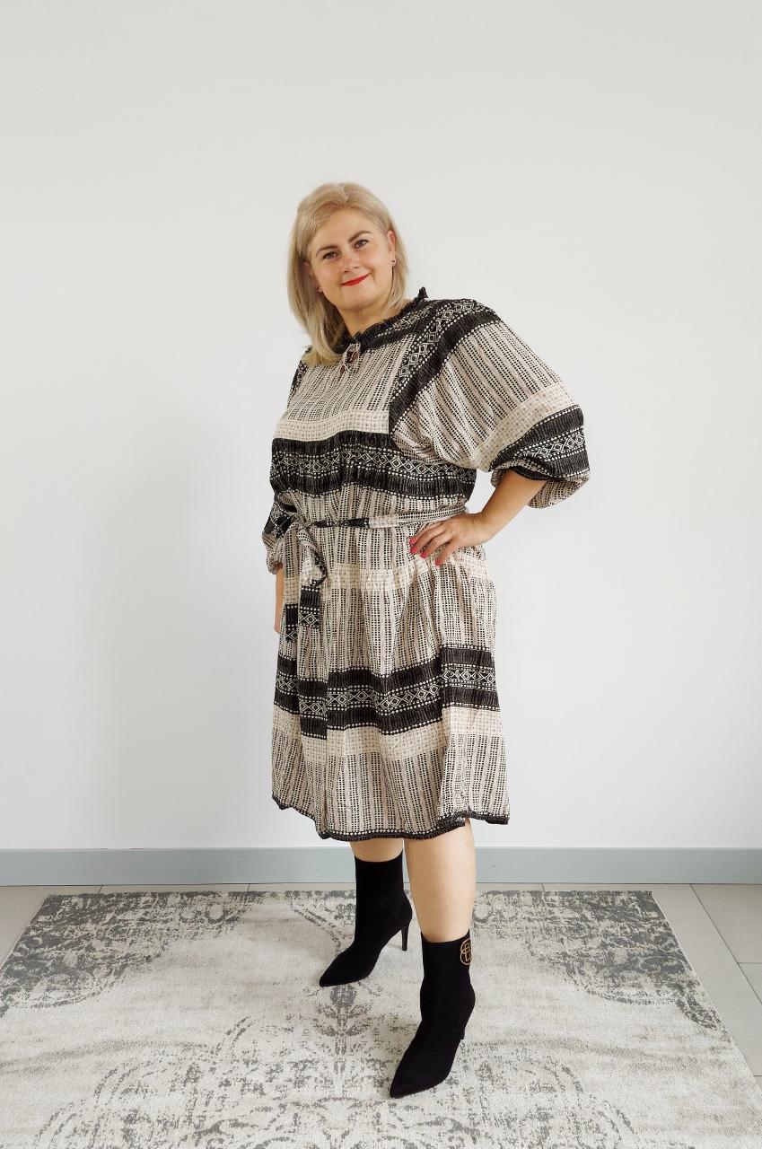 Zwiewna kremowa sukienka boho