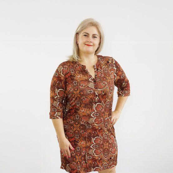 Sukienka z jesiennym nadrukiem
