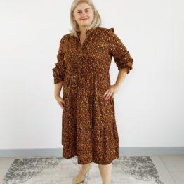 brązowa jesienna sukienka plus size