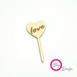 Topper w kształcie serca z napisem love