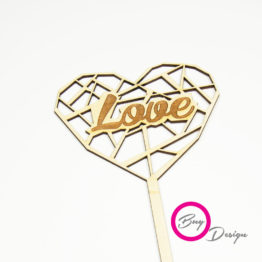 Serce ażurowe topper napis love