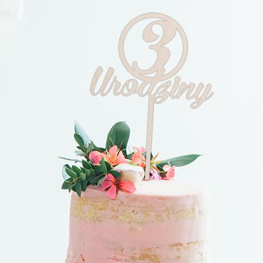 Topper do tortu 3 urodziny