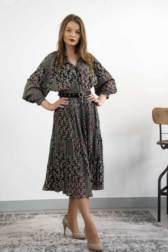 plisowana sukienka midi