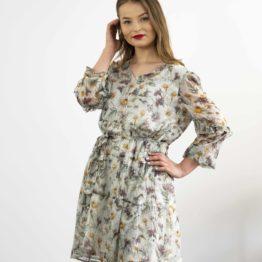Seledynowa Szyfonowa sukienka mini