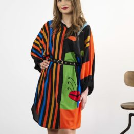 czarna sukienka w kontrastowy wzór