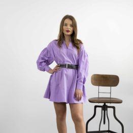 Popelinowa sukienka mini fiolet