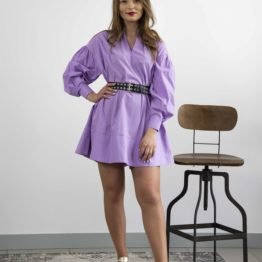 liliowa sukienka mini