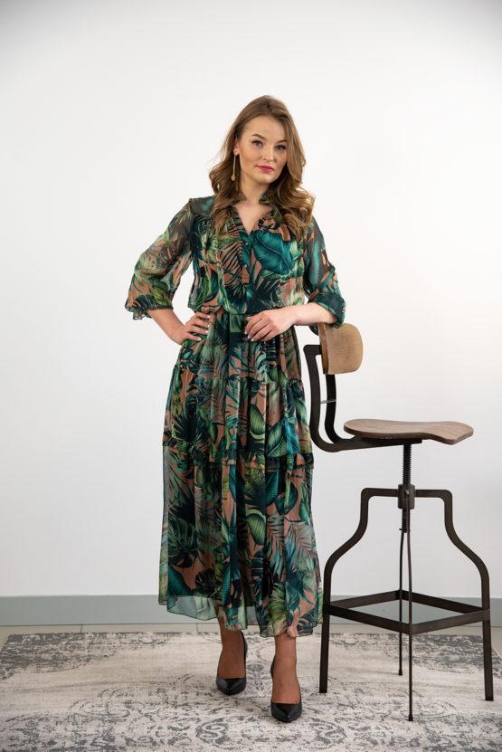 sukienka w tropikalny wzór