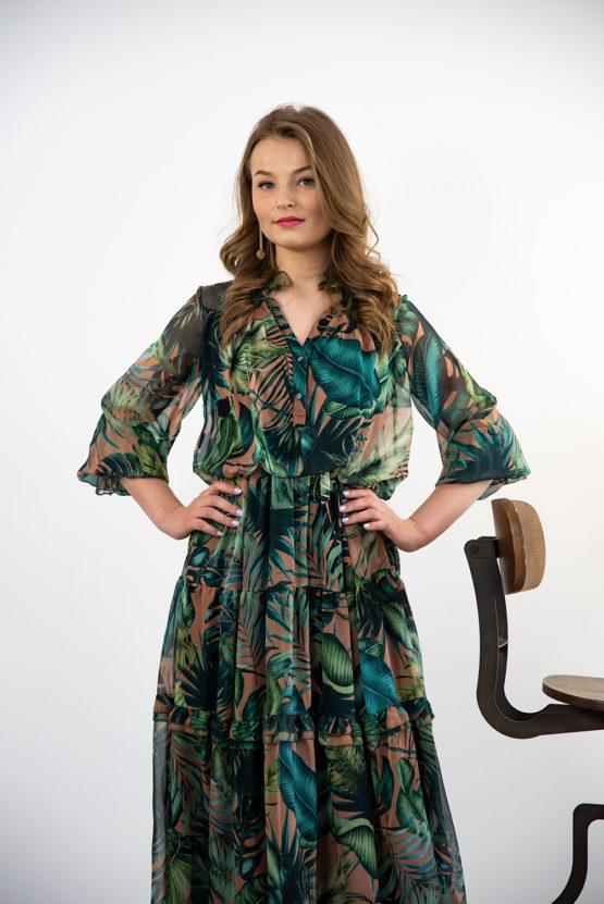 szyfonowa zielona długa sukienka