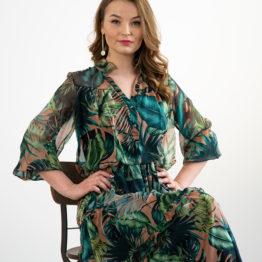 Szyfonowa zielona sukienka maxi