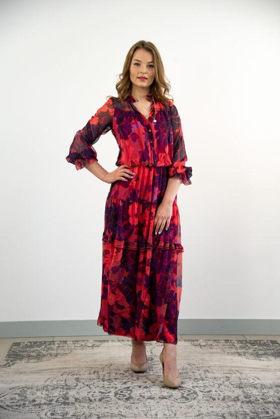 różowa szyfonowa sukienka maxi
