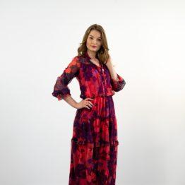 Szyfonowa różowa sukienka maxi