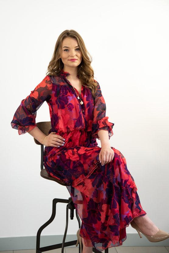długa szyfonowa sukienka w kwiaty