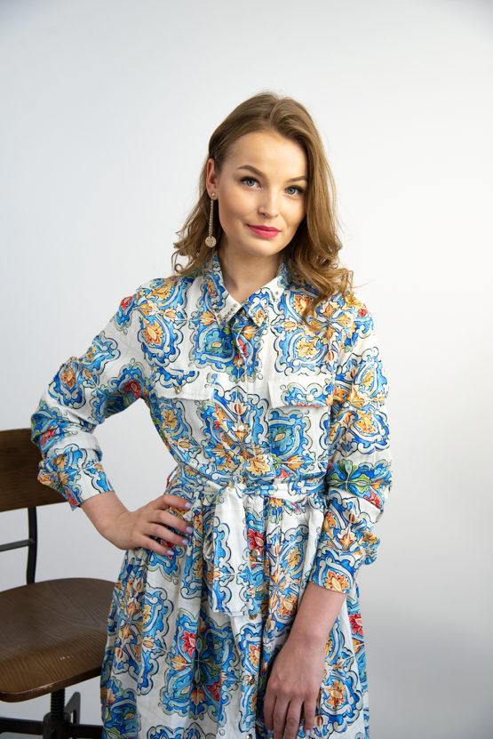 sukienka z wiskozy i lnu