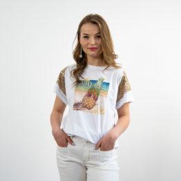 Błyszczący T-shirt z nadrukiem